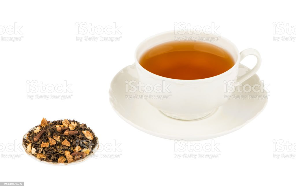White Tea Cup with Flavored Tea and Isolated on a White background with Deep Sharp Focus stock photo