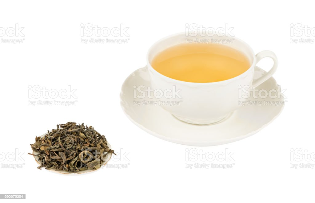 White Tea Cup with Green Tea and Isolated on a White background with Deep Sharp Focus stock photo
