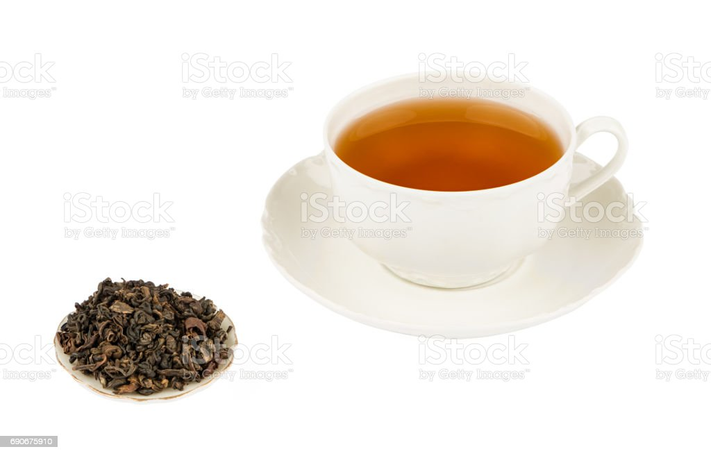 White Tea Cup with Oolong Tea and Isolated on a White background with Deep Sharp Focus stock photo