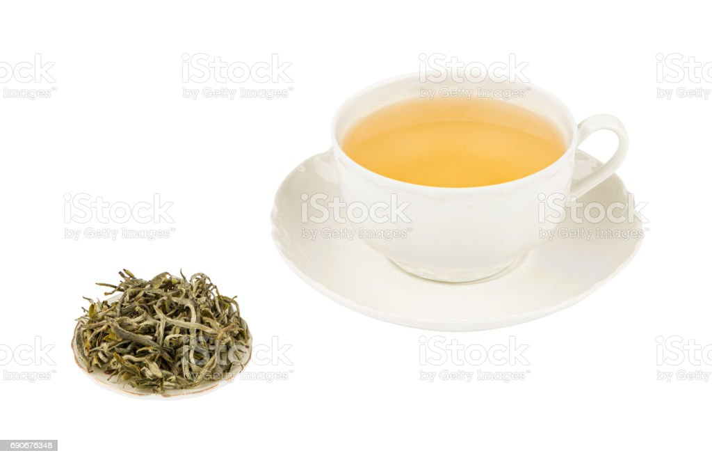 White Tea Cup with White Tea and Isolated on a White background with Deep Sharp Focus stock photo