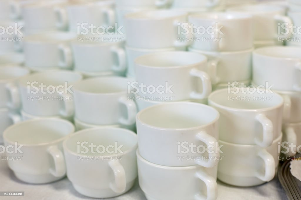 White tea cups on the table stock photo