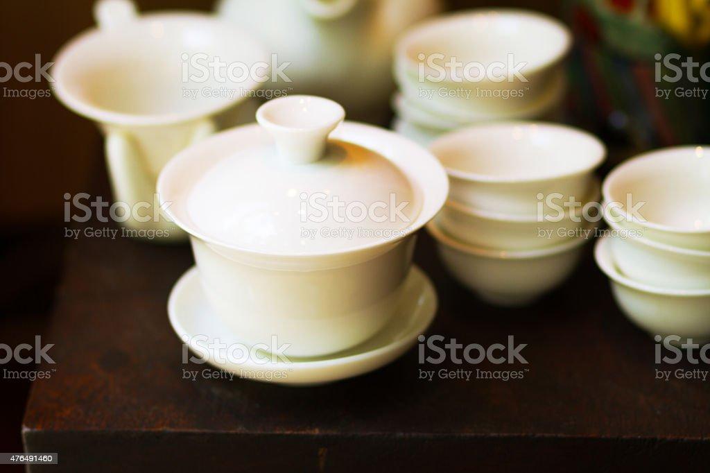 White tea porcelain and dish stock photo