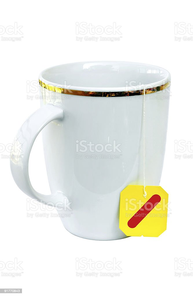 White teacup with teabag ready royalty-free stock photo