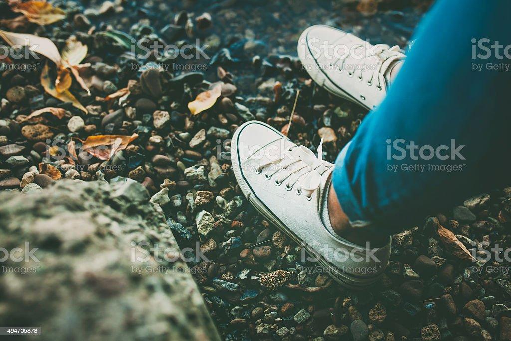 White teenage shoes stock photo