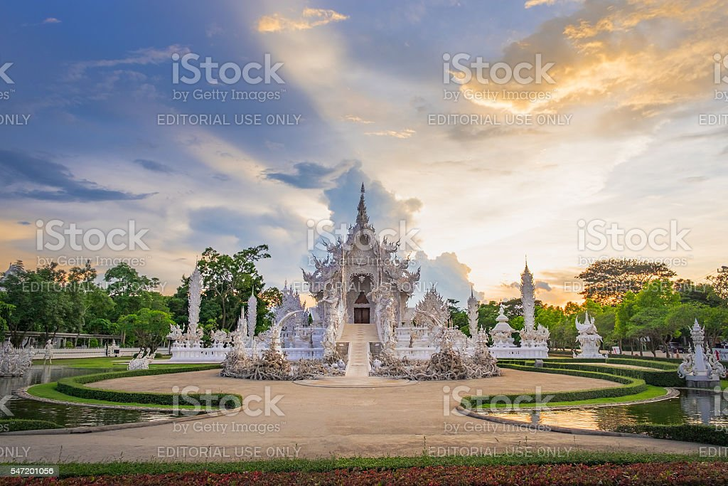 White Temple in Chiang Rai, Thailand. stock photo
