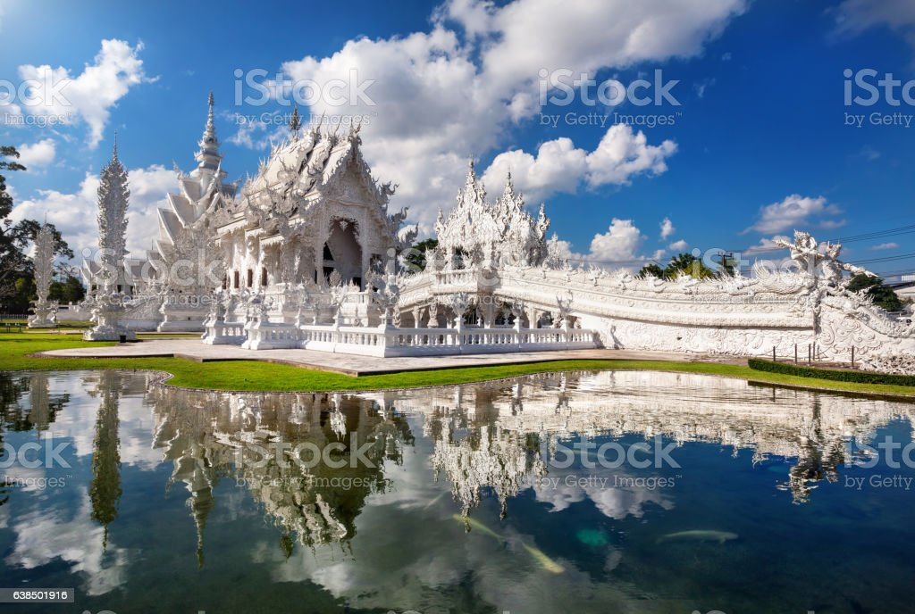 White Temple in  northern Thailand stock photo