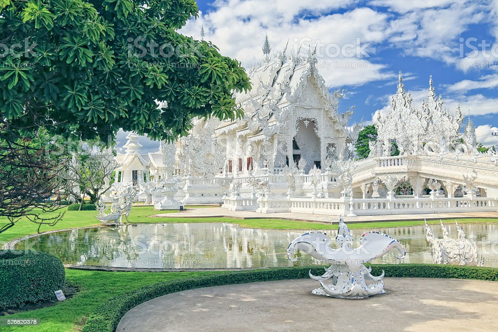 White Temple in Thailand stock photo