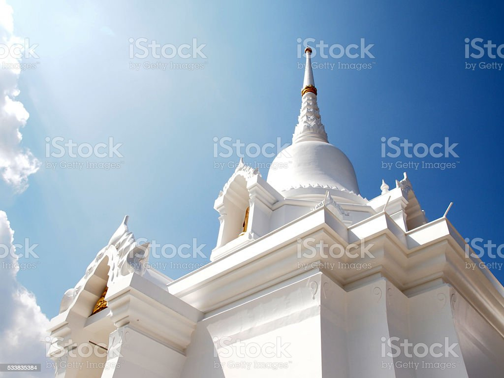 white temple Kanchanapisek Pagoda in blue sky stock photo