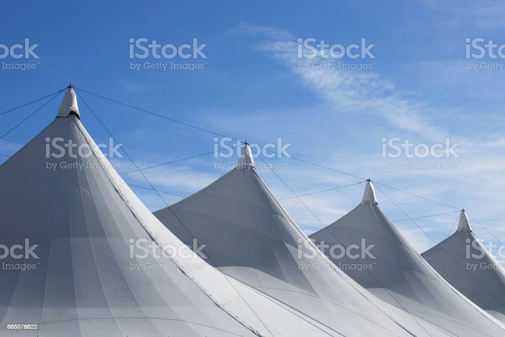 White tent roof stock photo