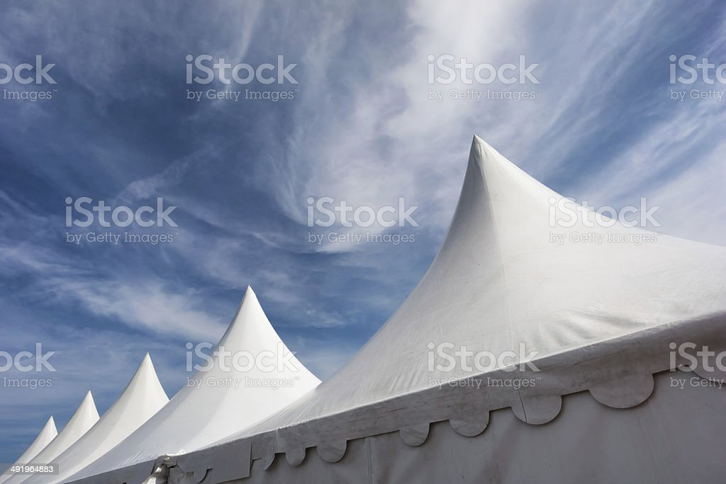 white tent roofs stock photo