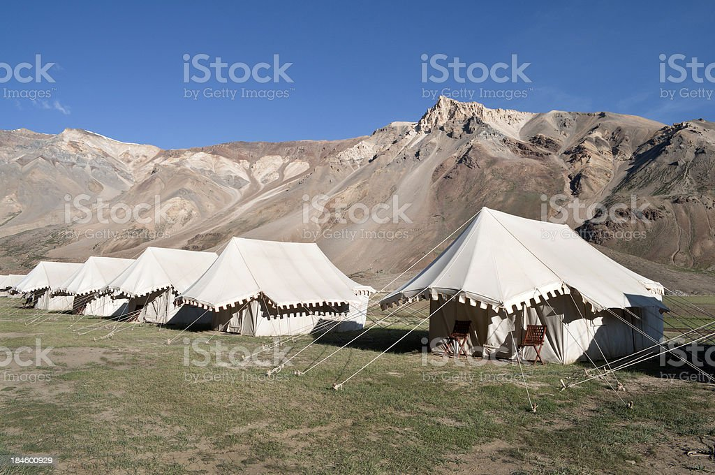White Tents in Sarchu Northern India royalty-free stock photo