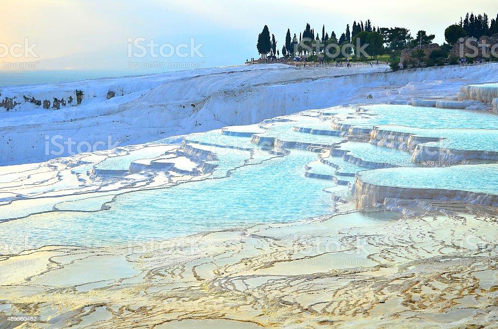 white terrace in Pamukkale stock photo