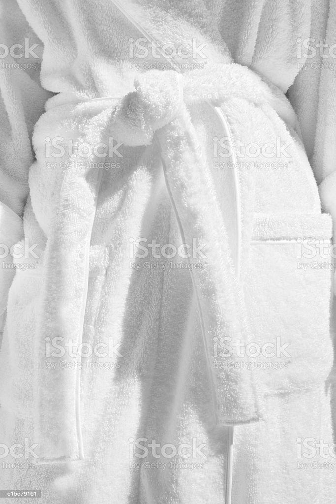 White Terrycloth Bathrobe Housecoat stock photo