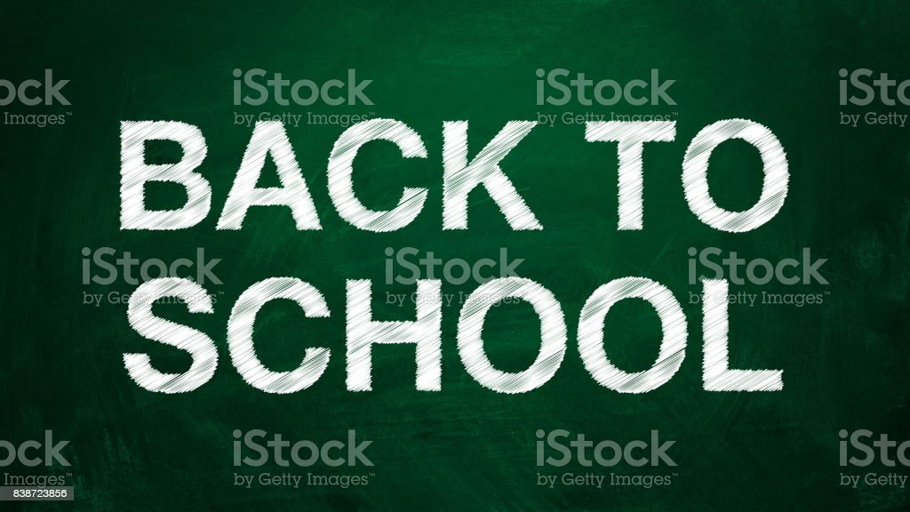 White text Back to school. The effect of the scribble stock photo