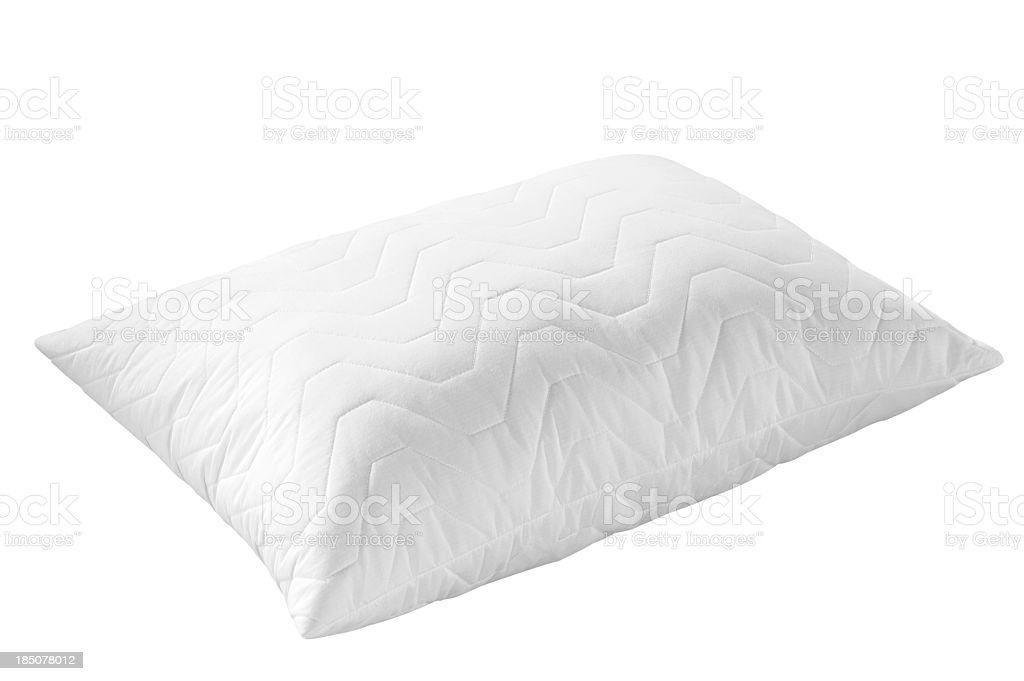 White textured pillow with wavy pattern on white background stock photo