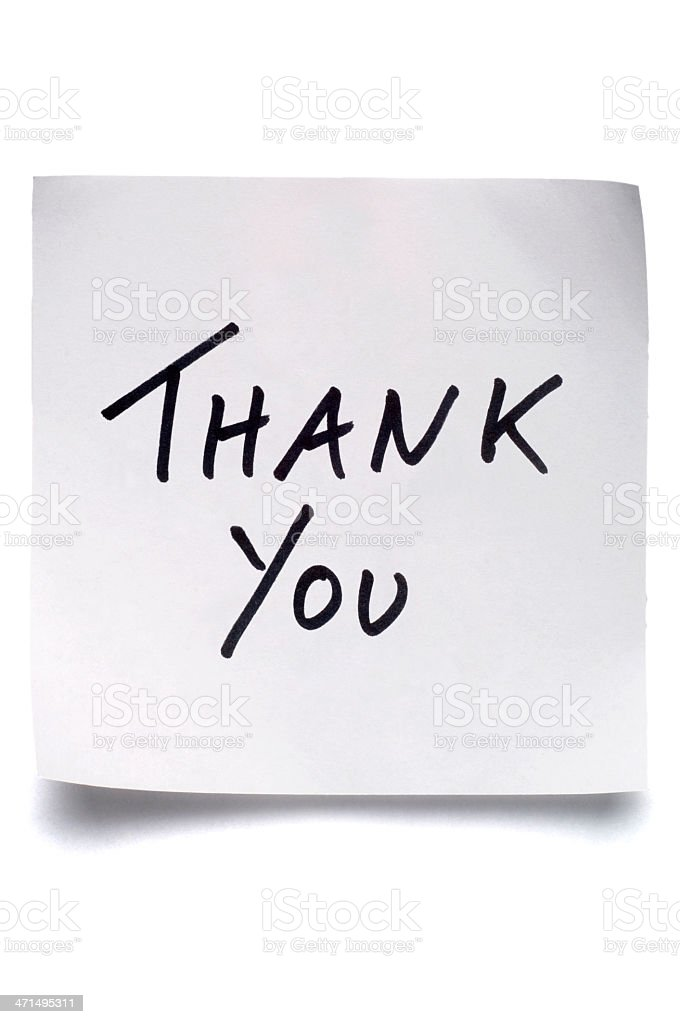 White Thank You post-it note isolated on white stock photo