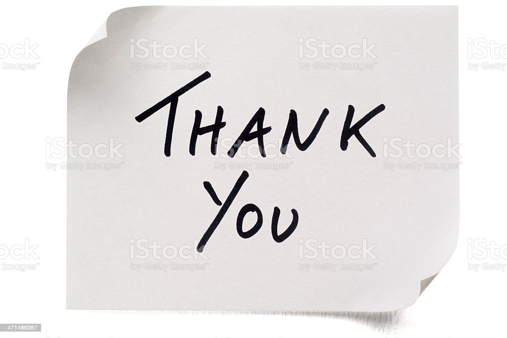 White Thank You post-it note stock photo
