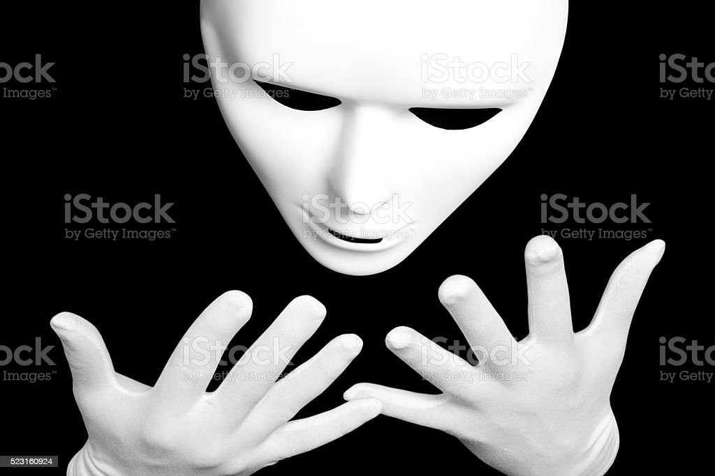 White theatrical mask stock photo