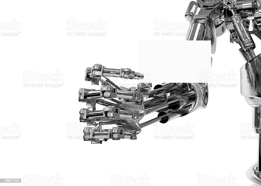 White Ticket holded by a Cyborg (XXXL-35MPx) royalty-free stock photo