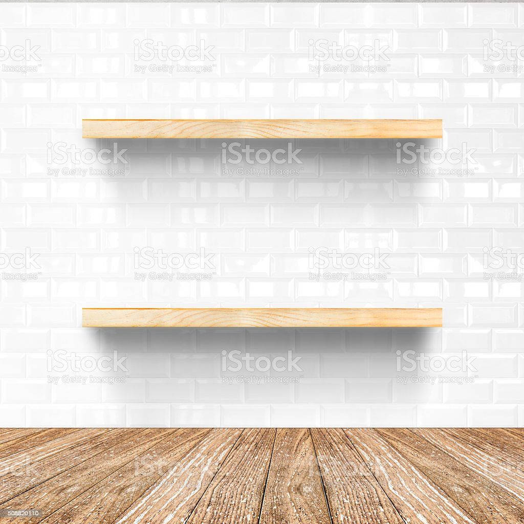 white tile room and wooden flooring with wooden shelf stock photo