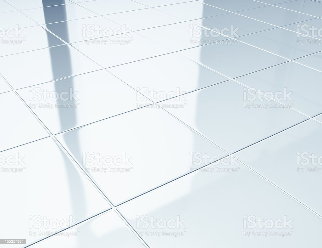 White tiles on a floor in bathroom stock photo