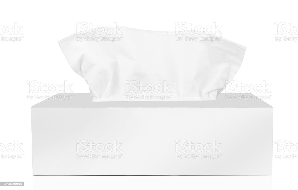 A white tissue box with tissues stock photo