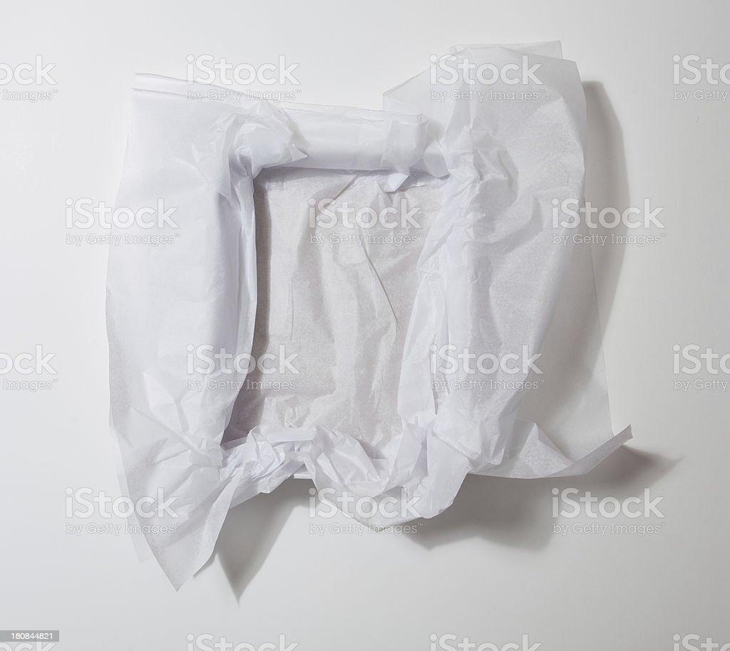 White Tissue Paper in Gift Box stock photo