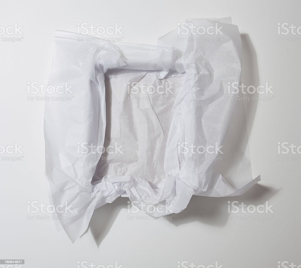 White Tissue Paper in Gift Box stock photo