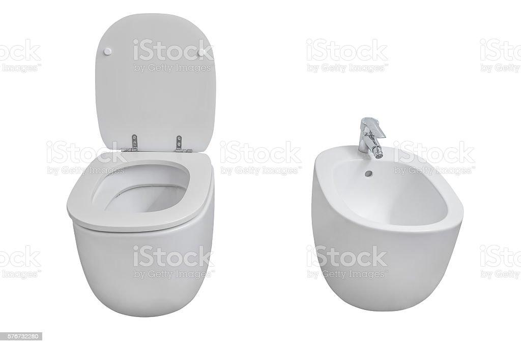 white toilet and bidet isolated on white background stock photo