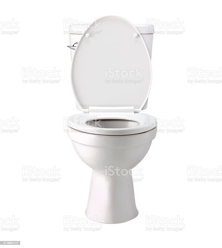 White toilet bowl in bathroom, isolated with clip path stock photo