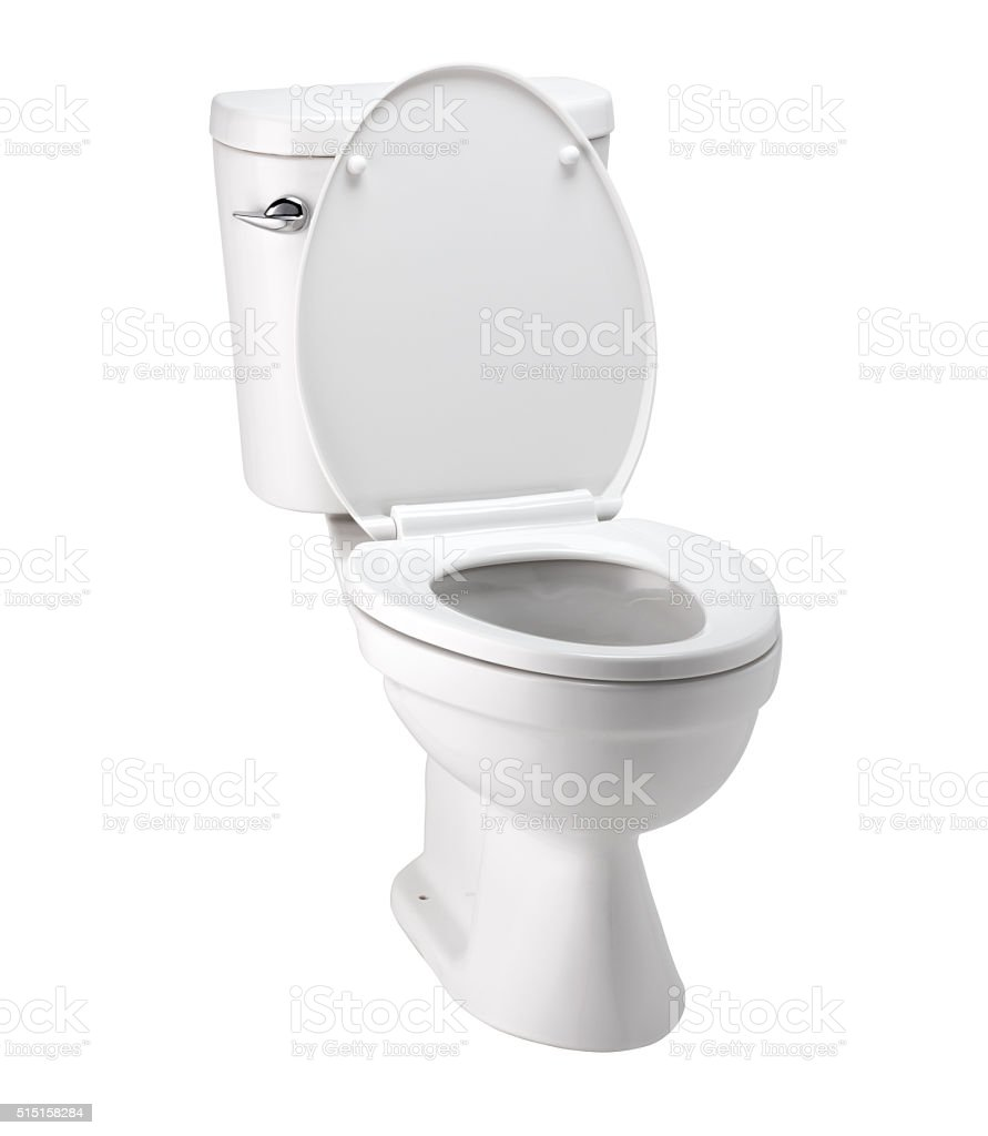 White toilet bowl in bathroom with clip path stock photo