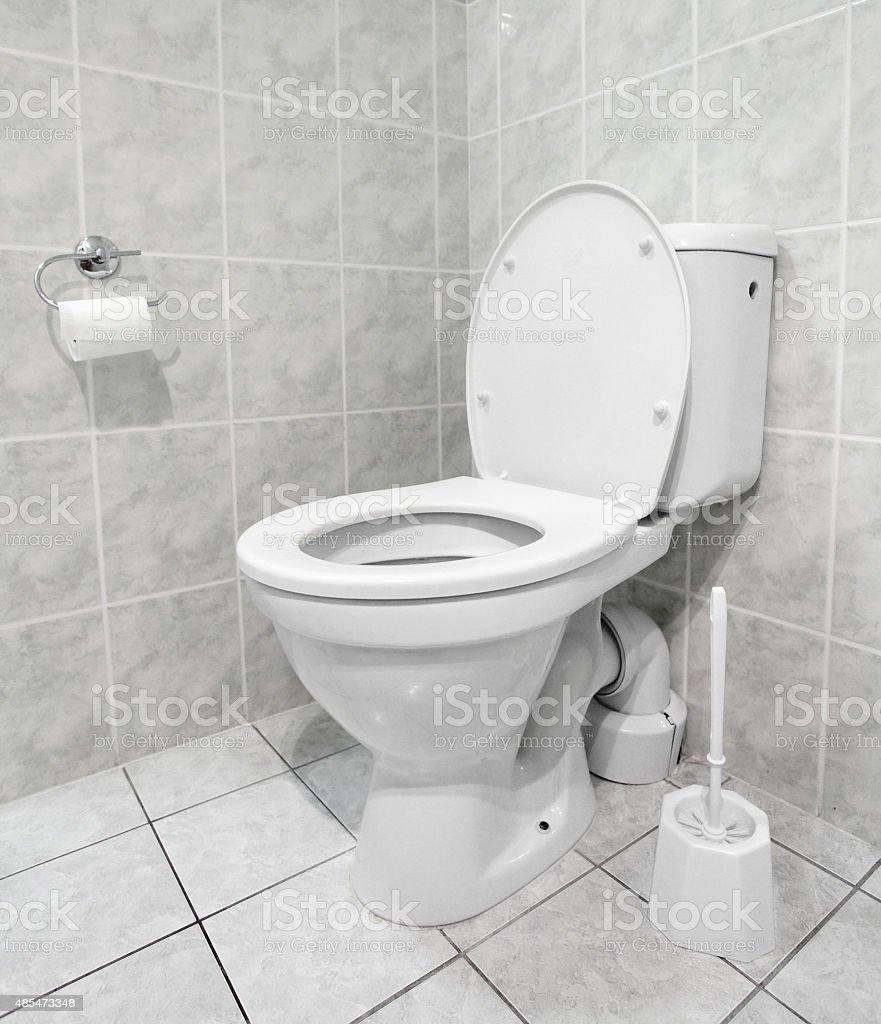 White toilet bowl. stock photo