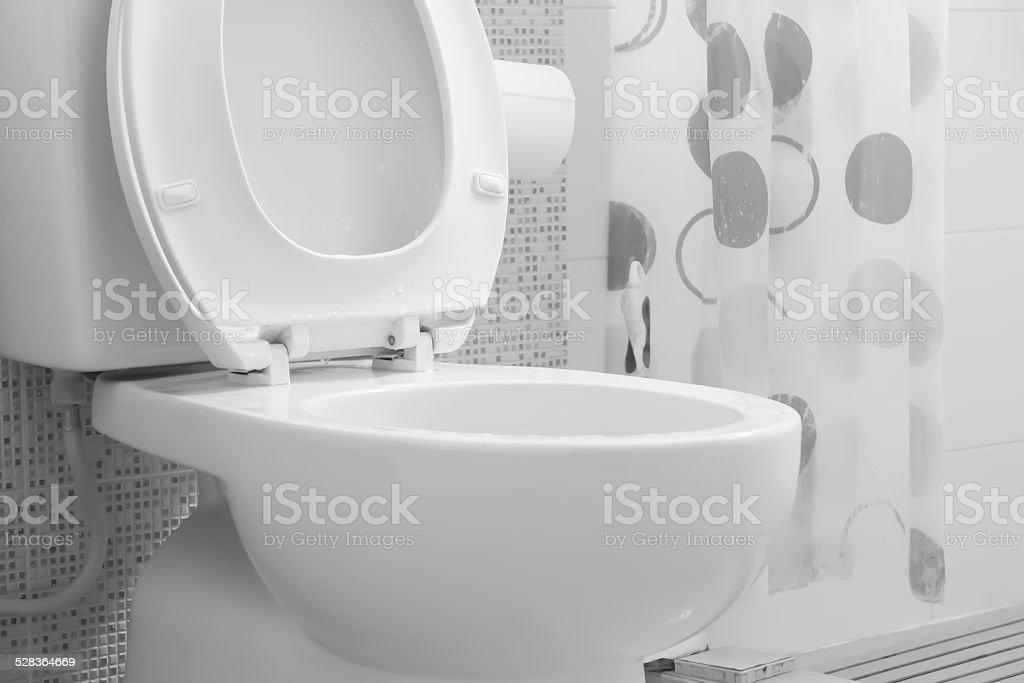 White toilet bowl stock photo