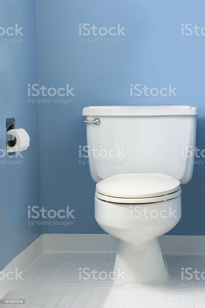 A white toilet in a blue bathroom stock photo