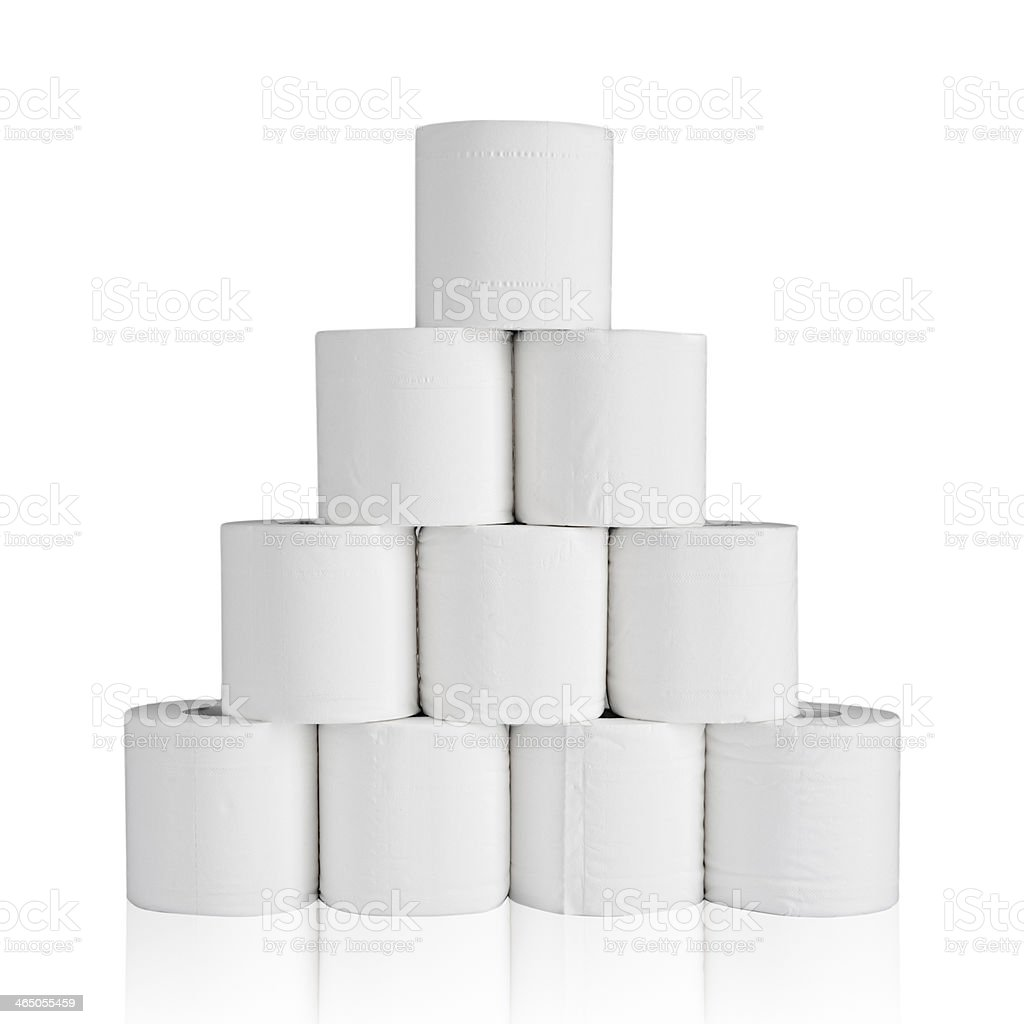 White toilet paper with reflection stock photo