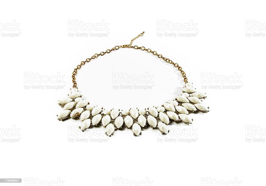 white tone gem necklace isolated royalty-free stock photo