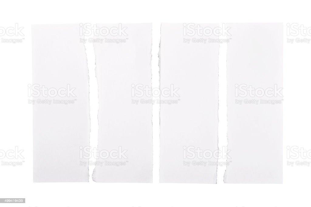 White Torn Paper Strips stock photo