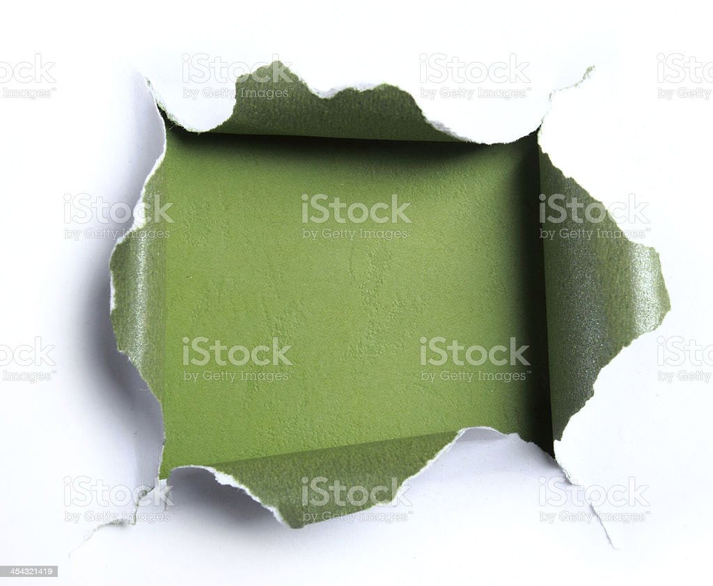 White torn paper with square shape stock photo