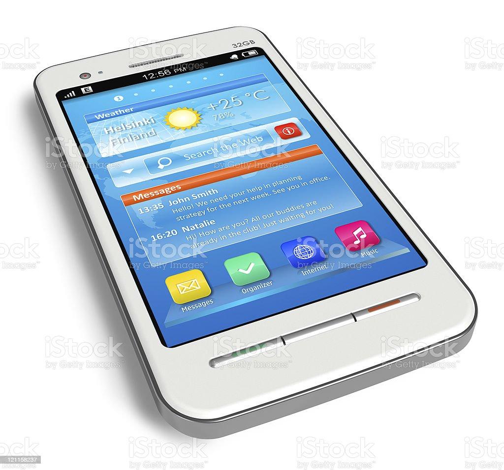 White touchscreen smartphone royalty-free stock photo