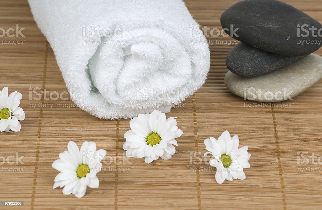 White towel and massage stones stock photo