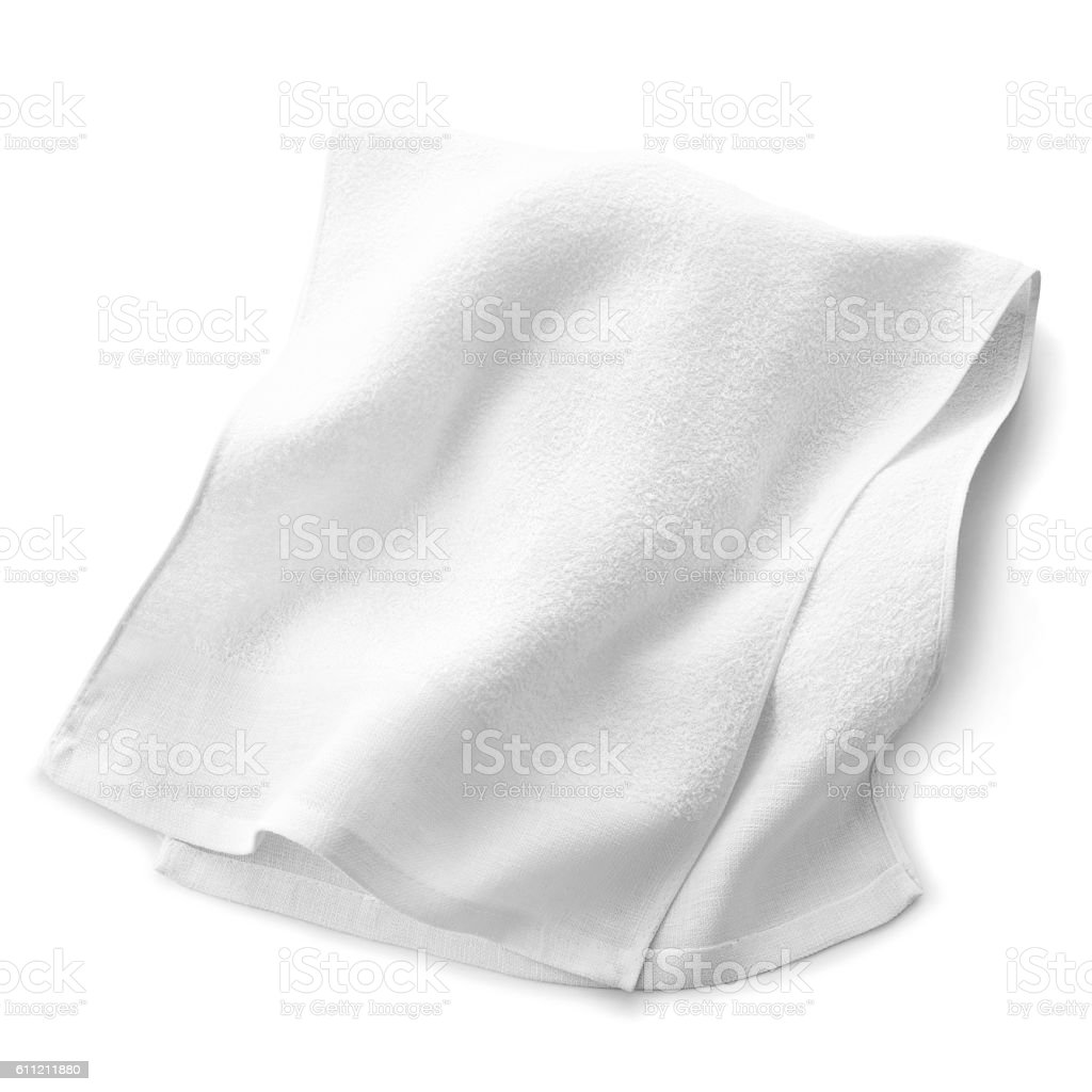 white towel isolated on white background stock photo