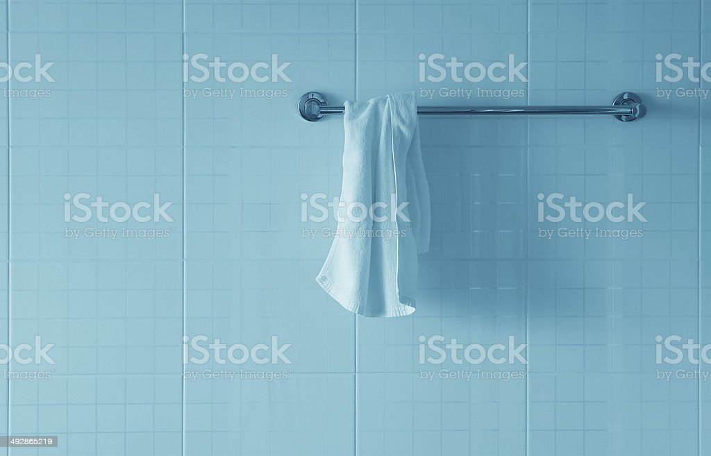 White towel on a hanger stock photo