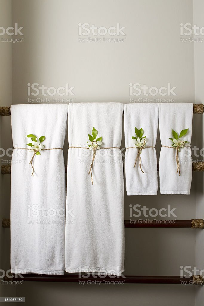 White towels in a resort bathroom royalty-free stock photo