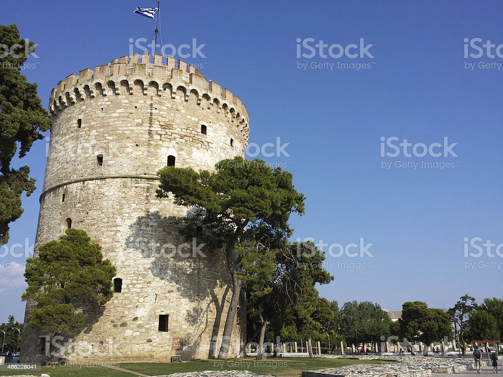 White tower in Salonika - Greece stock photo