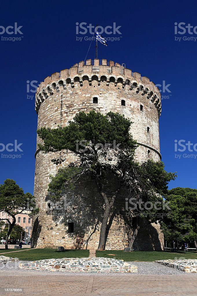 White tower in Thessaloniki stock photo