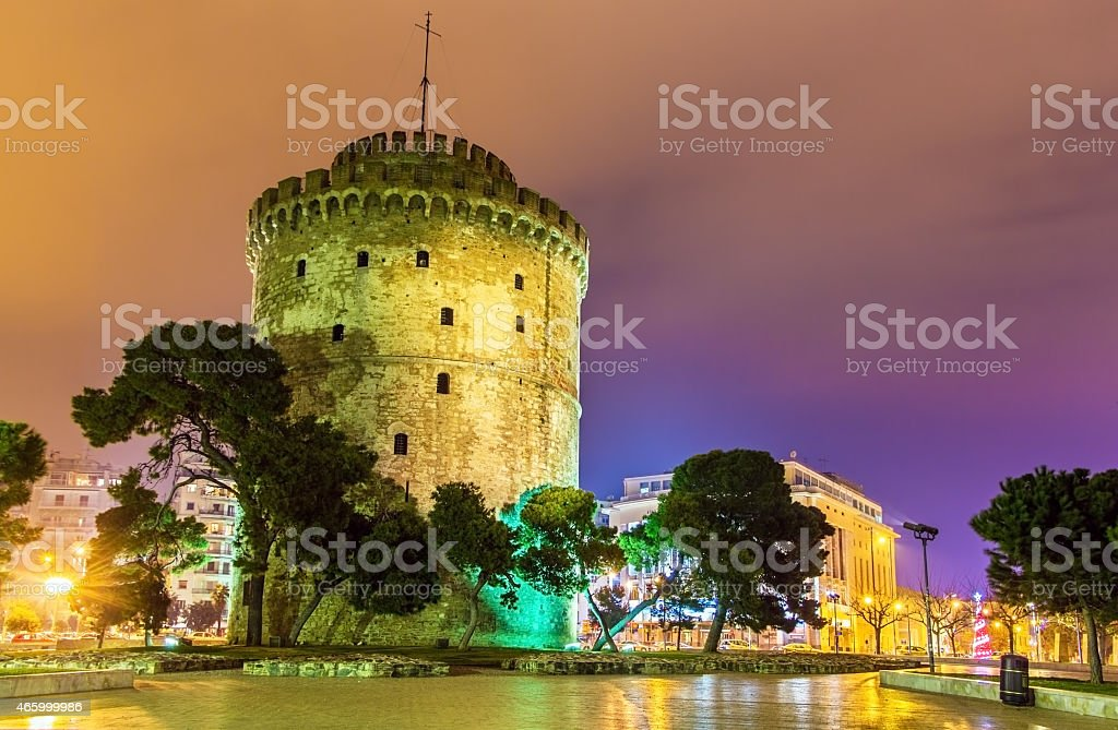 White Tower of Thessaloniki in Greece at night stock photo
