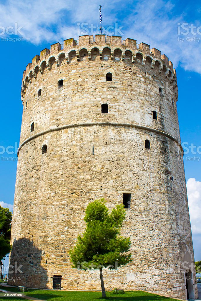 White Tower of  Thessaloniki stock photo