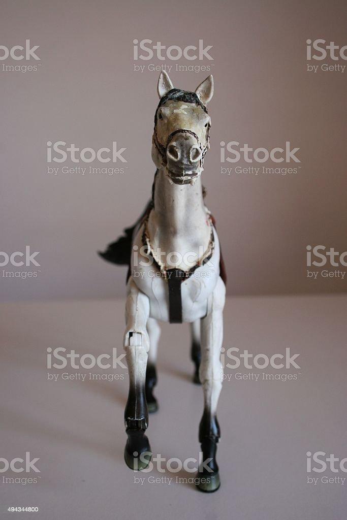 White toy horse stock photo