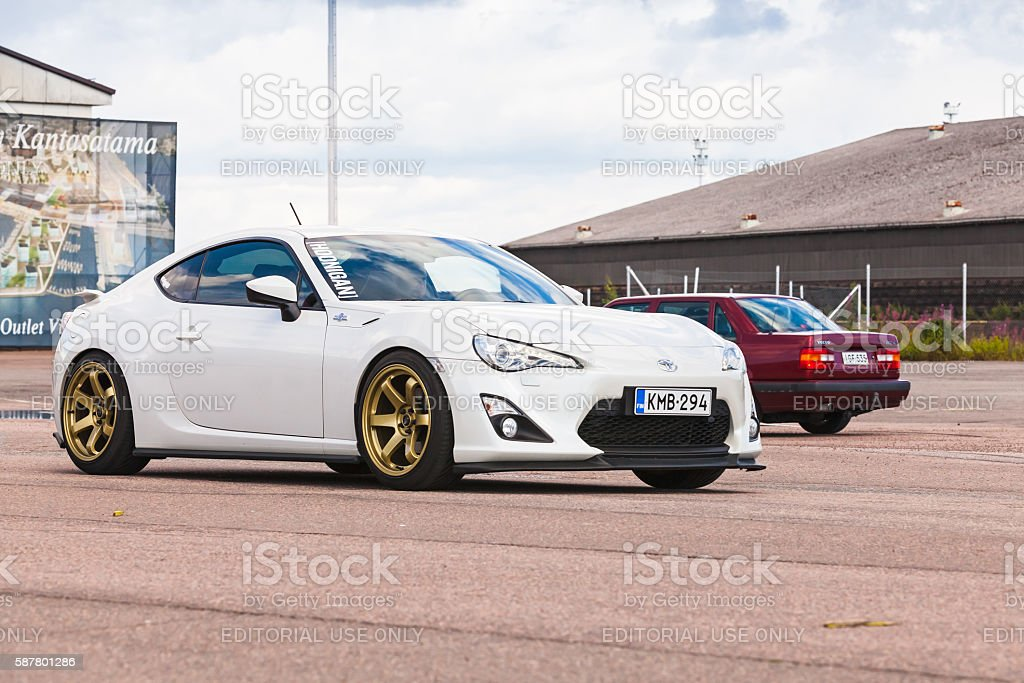 White Toyota GT86 sport car stock photo