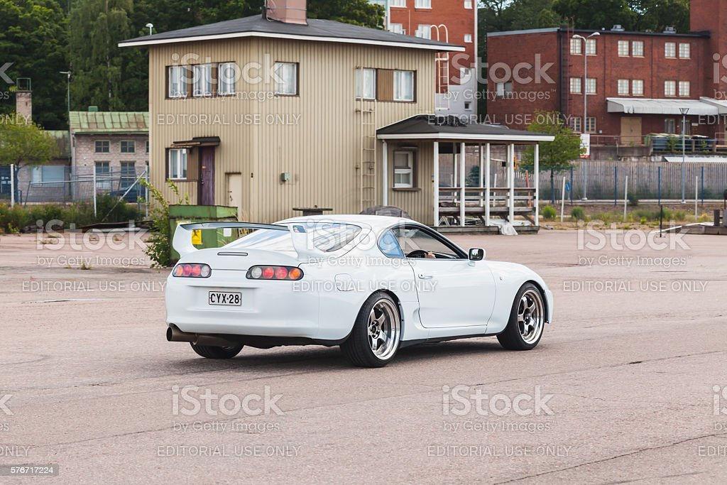 White Toyota Supra A80 stock photo